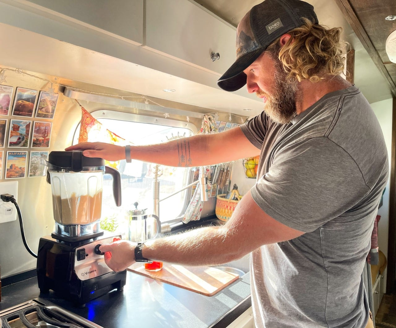 off-grid power a blender in airstream trailer